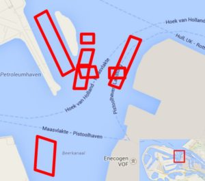 Localization of the dredging test zones and consolidation reference zones